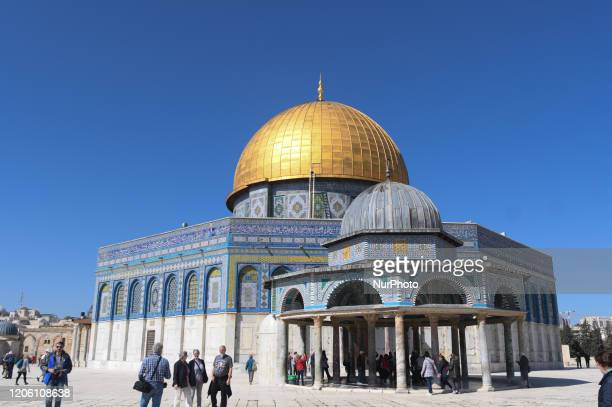 Tourists seen outside the Dome of the Rock mosque at the AlAqsa mosques compound in the Old City of Jerusalem With 29 Israelis and 19 Palestinians...
