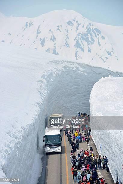 Tourists take pictures of 15meterhigh snow walls as the Tateyama Kurobe Alpine Route opens on April 16 2014 in Tateyama Toyama Japan