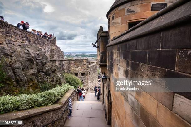 Tourists taking photos in Edinburgh, Scotland