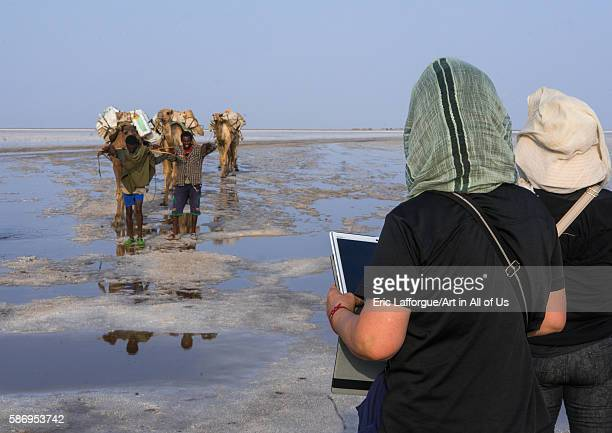 Tourists taking pictures of a camel caravan carrying salt through the danakil depression afar region dallol Ethiopia on February 25 2016 in Dallol...