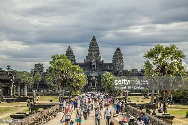 Tourists Travelling At Angkor Wat Temple