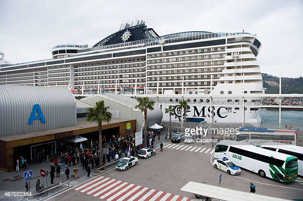 Tourists travelling on the MSC Splendida cruise ship some of whose passengers were among the victims of a terrorist attack in Tunisia disembark in...