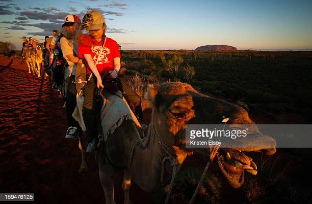 Tourists trek on camels towards Uluru at sunset in Uluru-Kata Tjuta National Park