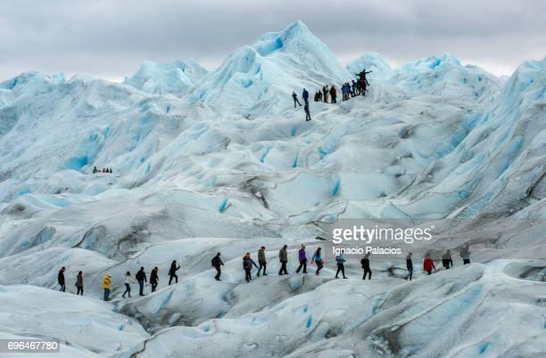 Tourists trekking during Perito Moreno Glacier walk, Glaciers National Park