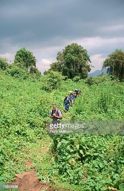 Tourists Trekking Through Lush Mountain Landscape