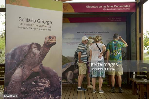 """Tourists visit a museum that exhibits the taxidermy body of """"Lonesome George"""", in a breeding center in the Galapagos National Park on Santa Cruz..."""