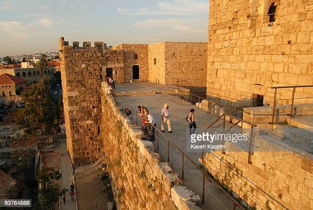 Tourists visit Byblos Castle built by the crusaders in the 12th century It is located in an archaeological site near the port in Byblos Byblos is the...