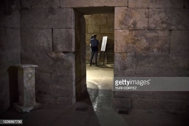 Tourists visit Diocletian's Palace located inside the fortress dating from the 4th century in Split Croatia in September 3 2018