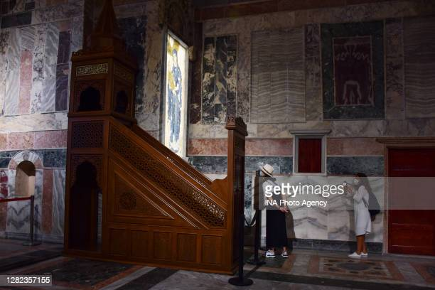 Tourists visit in the Chora Museum in Istanbul, Turkey. The city's famous museum will be reconverted to a mosque and opened to Muslim worship...