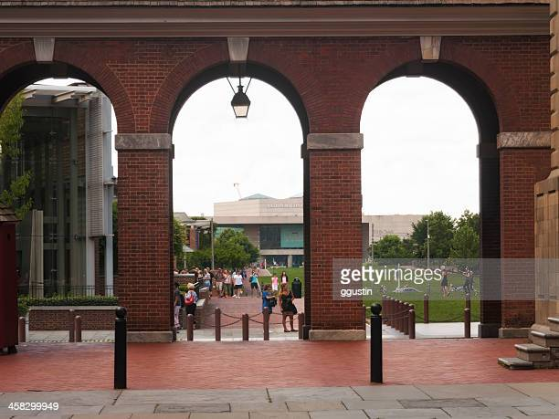 tourists visit independence hall in philadelphia pennsylvania - national constitution center stock pictures, royalty-free photos & images