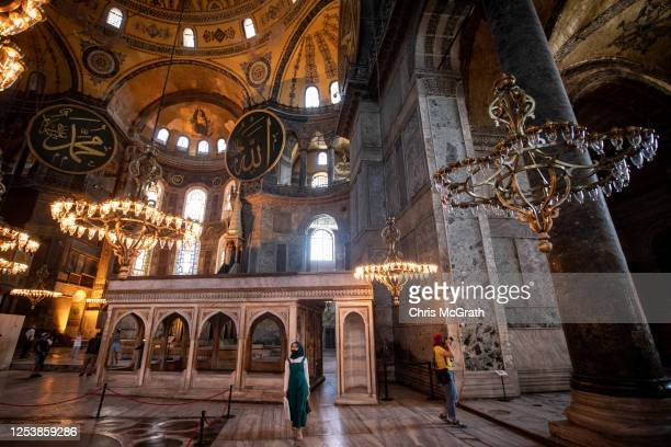 Tourists visit Istanbul's famous Hagia Sophia on July 02, 2020 in Istanbul, Turkey. Turkey's Council of State will begin a review today of the...