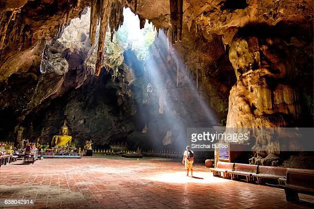Tourists visit Khao Luang Cave on July 08,2015 in Phetchaburi,Thailand