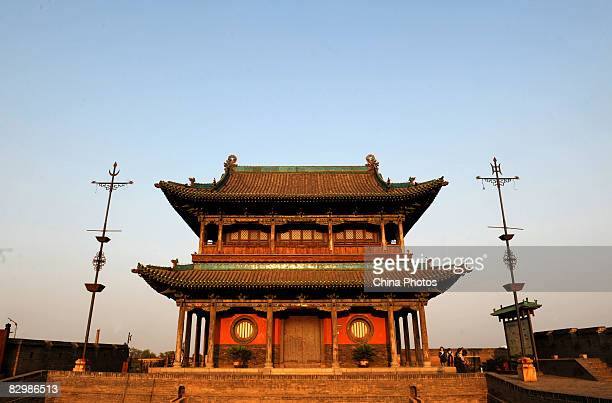 Tourists visit the ancient city wall on September 21, 2008 in Pingyao of Shanxi Province, China. Pingyao, with a history of over 2,700 years, is a...