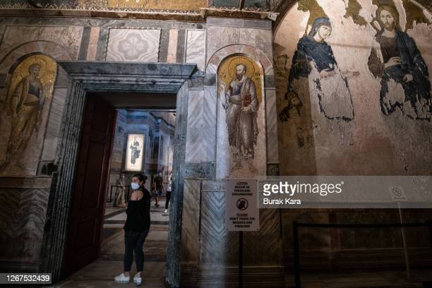 Tourists visit the Chora Church Museum, the 11th century church of St. Savior on August 21, 2020 in Istanbul, Turkey. Istanbul's famous Chora Church...