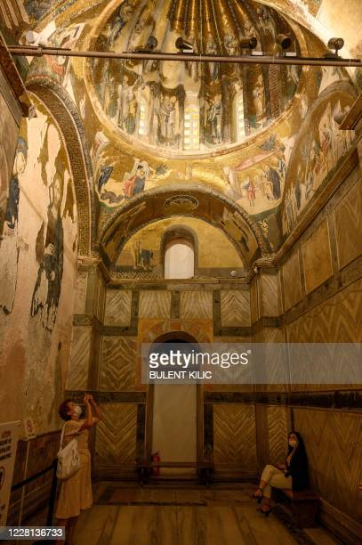Tourists visit the Chora or Kariye Museum, formally the Church of the Holy Saviour, a medieval Byzantine Greek Orthodox church, on August 21 in the...