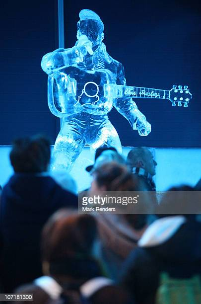 Tourists visit the Ice Sculpture Festival on November 28 2010 in Brugge Belgium More than 300000 kilograms of ice are shipped in for sculptors to...