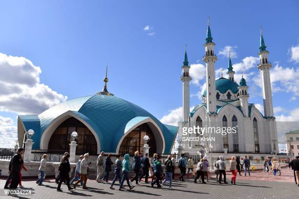 Tourists visit the KulSharif mosque in Kazan on June 9 2018 Kazan is one of the 11 host cities for the 2018 FIFA World Cup football tournament