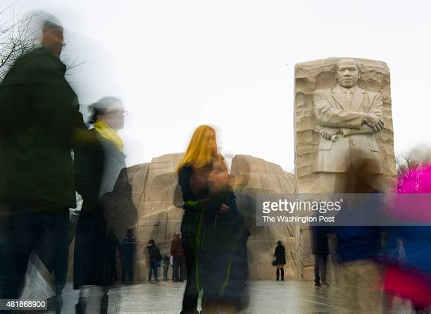 Tourists visit the Martin Luther King Monument the eve of the Federallyrecognized holiday and day of service in Washington DC on January 18 2015...