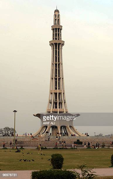 Tourists visit the MinariPakistan monument in Lahore on February 12 2010 MinariPakistan is one of the most important national monuments of the...