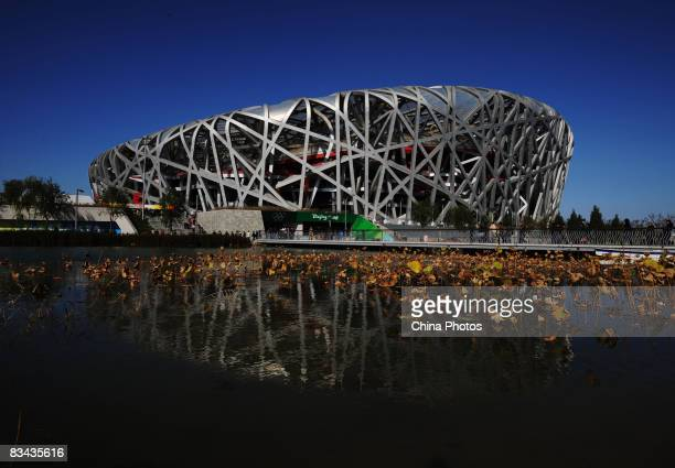 Tourists visit the National Stadium on October 25 2008 in Beijing China Major Olympic venues including the Bird's Nest and the Water Cube have opened...