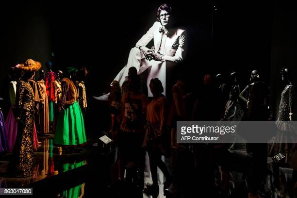 TOPSHOT Tourists visit the new Yves Saint Laurent museum in the Moroccan city of Marrakesh on October 19 2017 A fusion of the Moroccan traditions and...