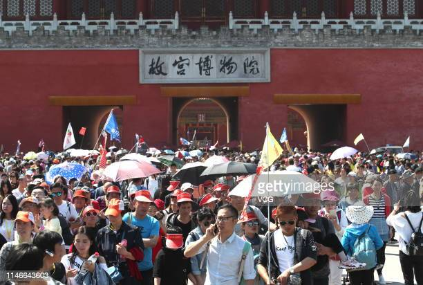 Tourists visit the Palace Museum on the second day of the 4-day International Workers' Day holiday on May 2, 2019 in Beijing, China.