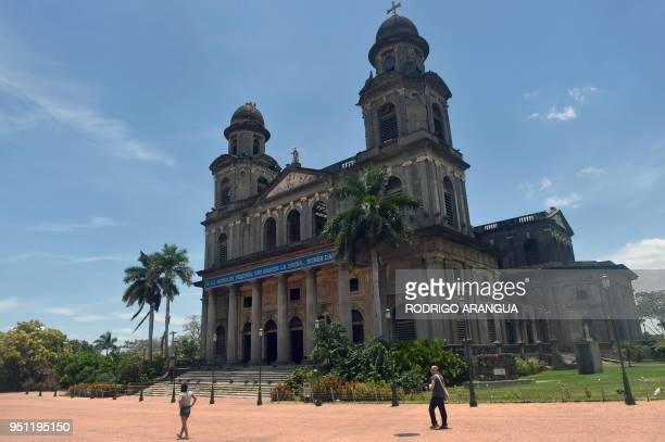 Tourists visit the Revolution square in Managua on April 25 2018 A week of brutally repressed antigovernment protests in Nicaragua has killed at...