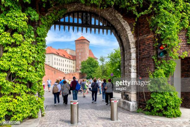tourists visit the royal castle on wawel hill, krakow, poland - wawel cathedral stock pictures, royalty-free photos & images
