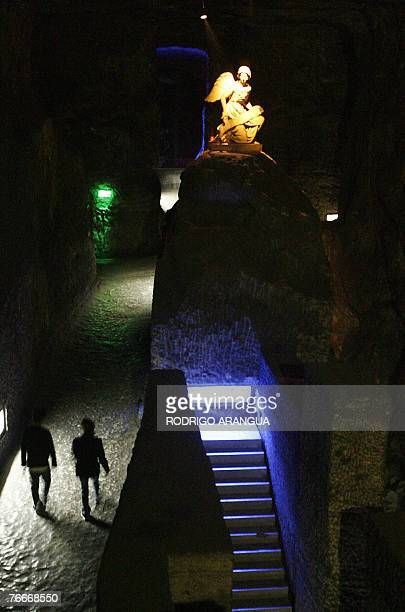 Tourists visit the Salt Cathedral of Zipaquira, an underground church built into a mine that produces salt, 45 km north of Bogota, 26 August 2007....