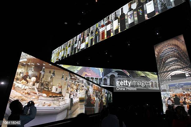 Tourists visit the Spain Pavilion during the Shanghai World Expo on October 31 2010 in Shanghai China The sixmonth fair closed today setting a new...