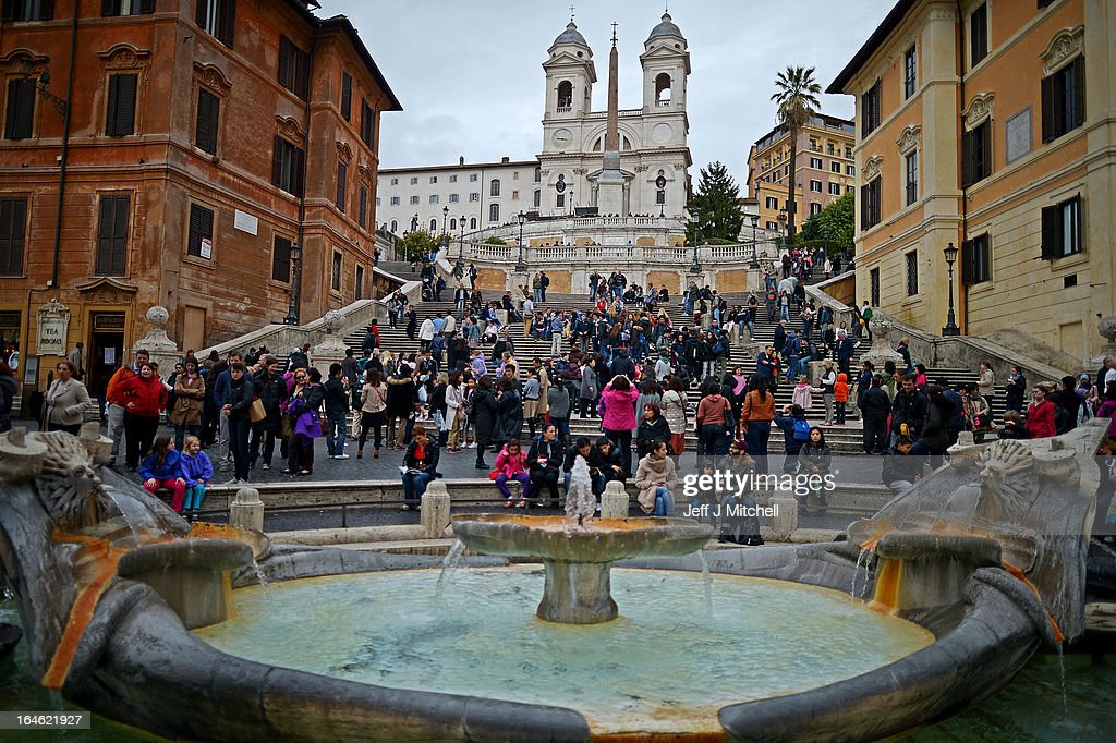 Tourists visit the Spanish steps on March 25, 2013 in Rome, Italy. Pope Francis yesterday led his first mass of Holy Week as pontiff by celebrating Palm Sunday in front of thousands of faithful and clergy.