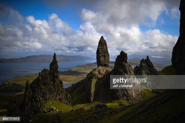 Tourists visit The Storr on the Isle of Skye on August 17 2017 in Portree Scotland The Isle of Skye is known as one of the most beautiful places in...