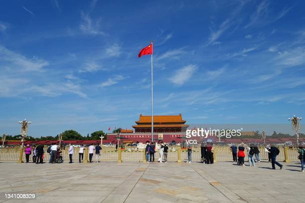 Tourists visit the Tian'anmen Square in a bright sunny day on September 17, 2021 in Beijing, China.