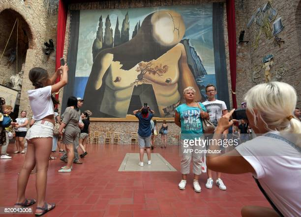 Tourists visit the tomb of Salvador Dali at the TeatreMuseu Dali following the exhumation of Salvador Dali's remains in Figueras on July 21 2017...