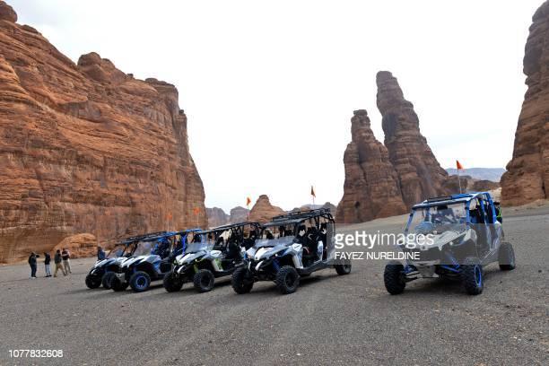 Tourists visit the Ula desert near the northwestern Saudi town of alUla on January 5 2019