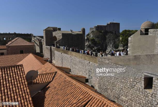 Tourists visit the walled Old Town of Dubrovnik in Croatia on September 2 2018