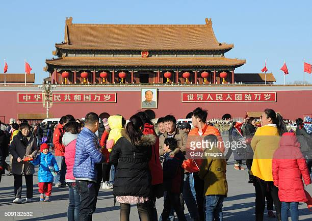 Tourists visit Tiananmen Square on a good day on February 8 2016 in Beijing China Beijing welcomes sunny weather on first day of the new Year of...