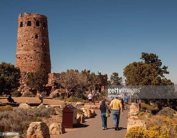 Tourists Visit Watchtower at Grand Canyon