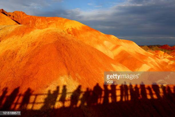 Tourists visit Zhangye National Geopark on August 7 2018 in Zhangye Gansu Province of China