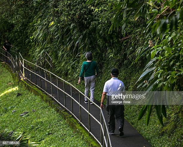 Tourists visiting Akaka Falls walk to the popular tourist lookout via the circle trail on December 14 near Honomu Hawaii Hawaii the largest of all...