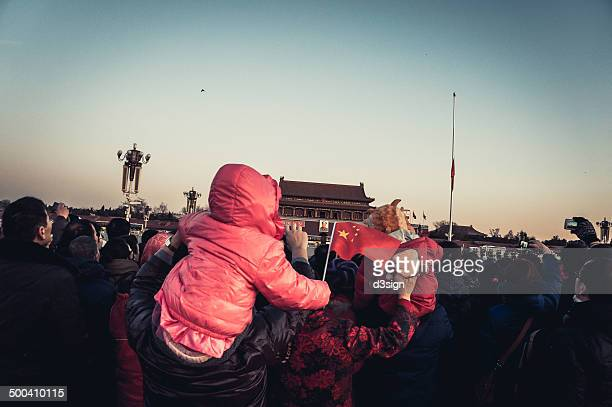 CONTENT] Tourists visiting and gathering outside the Mao Tse Dong Mausoleum Tiananmen Square