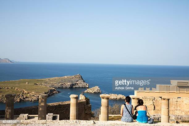 Tourists visiting archeological site in Lindos