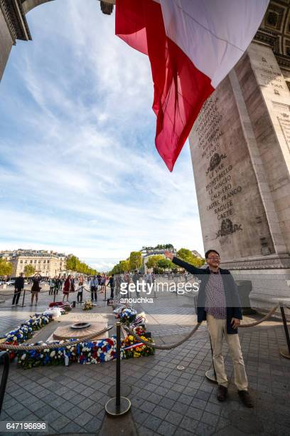 Tourists visiting famous Arc de Triomphe, Paris, France