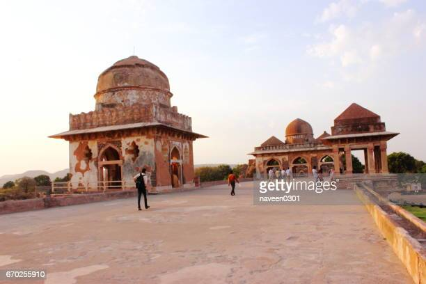 tourists visiting jahaz mahal/ship palace in mandu - indore stock photos and pictures