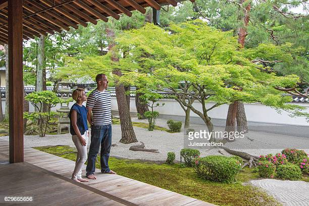 Tourists visiting Japanese Temple gardens