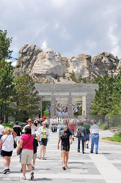 Tourists Visiting Mount Rushmore National Memorial South Dakota