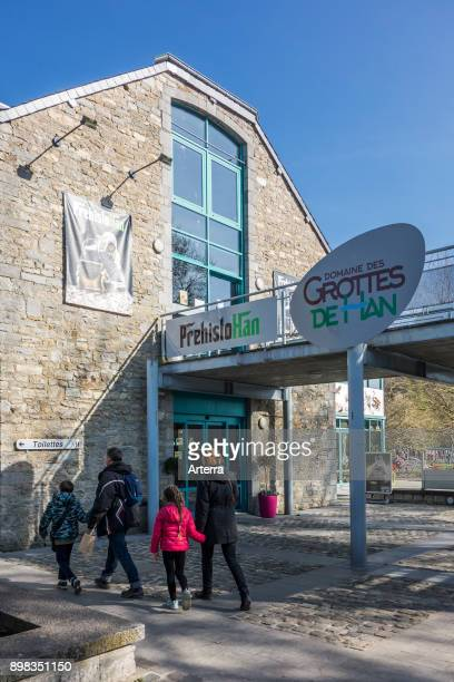 Tourists visiting PrehistoHan museum about archaeological remains found in the Caves of HansurLesse / Grottes de Han Belgian Ardennes Belgium