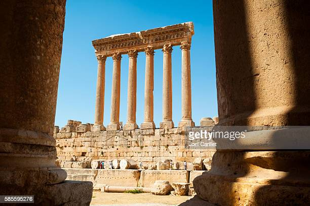 Tourists visiting Temple of Jupiter columns in Baalbek, Lebanon