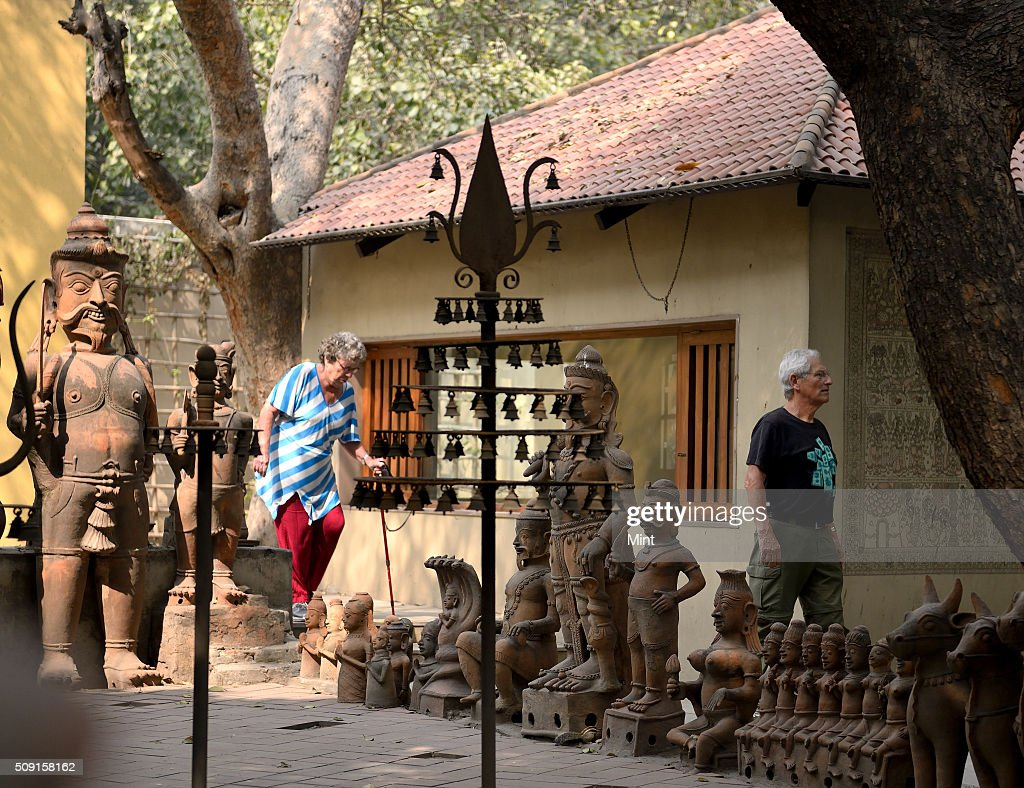 Tourists Visiting The National Handicrafts And Handloom Museum Also