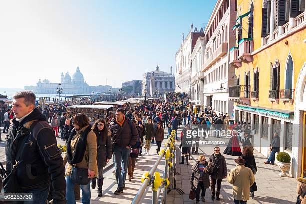 Tourists visiting the St. Mark's square -Venice, Italy